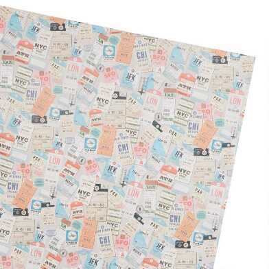 Travel Tags Wrapping Paper Roll