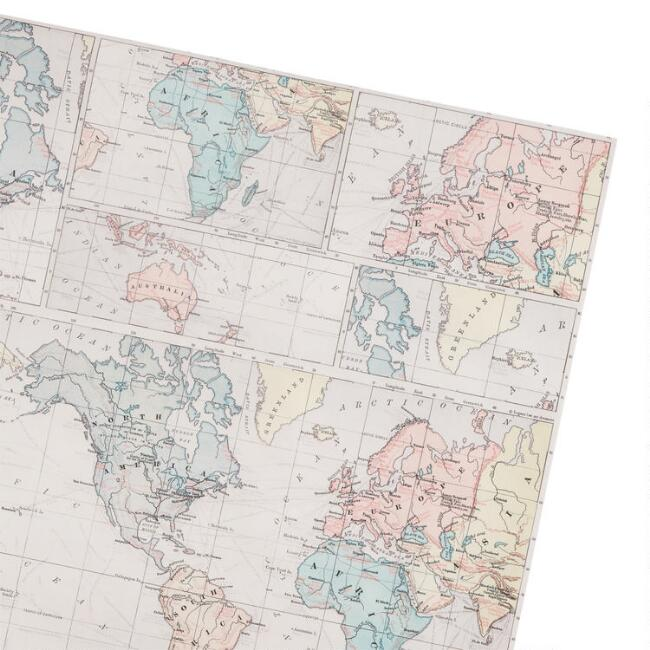 World Map Wrapping Paper Roll