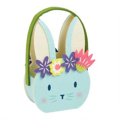 Small Felt Bunny with Flower Crown Easter Basket
