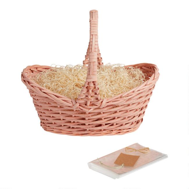 Blush Pink Woven Gift Basket Kit With Handle