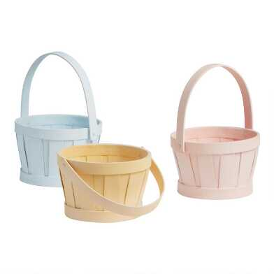 Mini Pastel Washed Chipwood Apple Baskets Set of 3