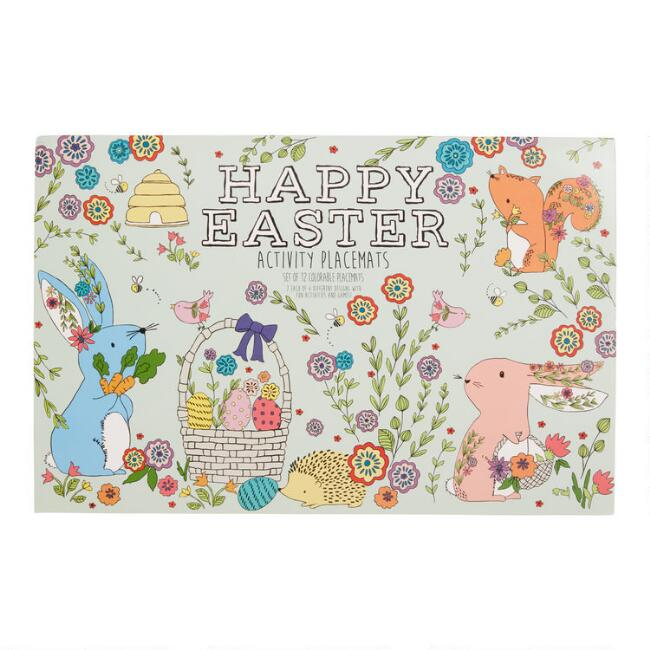 Bunny Scene DIY Activity Placemats 12 Count