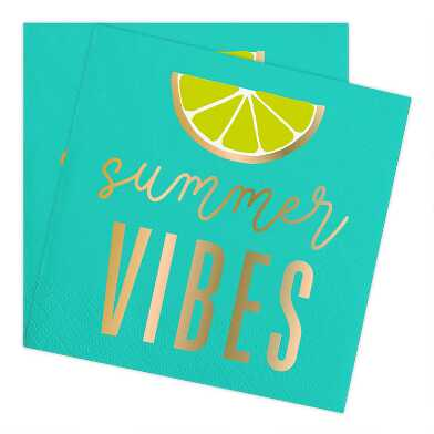 Teal Summer Vibes Beverage Napkins 20 Count