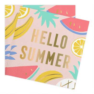 Hello Summer Beverage Napkins 20 Count
