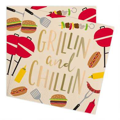 Grillin And Chillin Beverage Napkins 20 Count