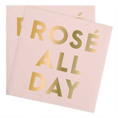 Pink and Gold Rose All Day Beverage Napkins 20 Count