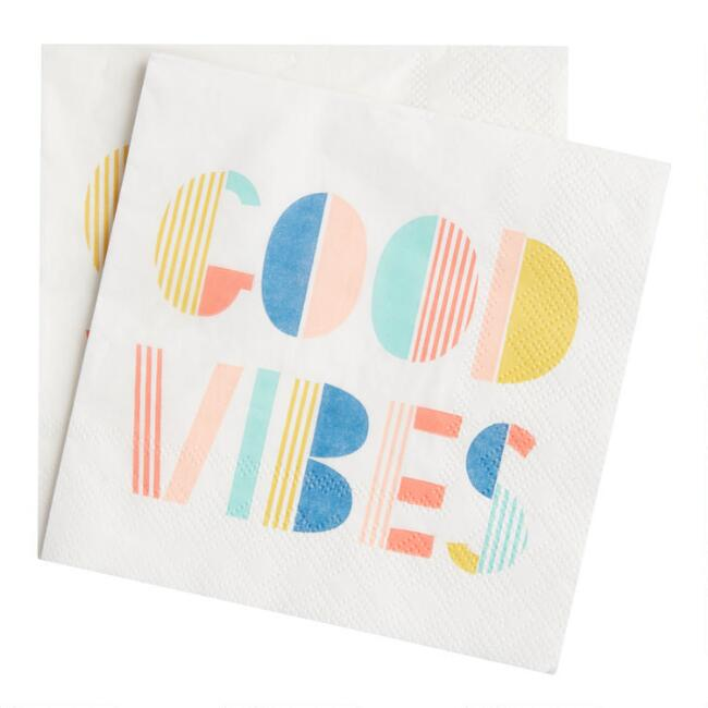 Multicolor Good Vibes Beverage Napkins 20 Count