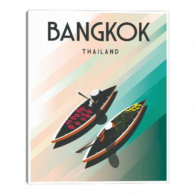 Bangkok by Omar Escalante Framed Canvas Wall Art