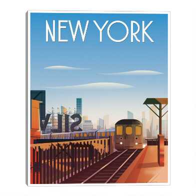 New York by Omar Escalante Framed Canvas Wall Art