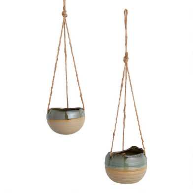 Green Reactive Glaze Hanging Planter