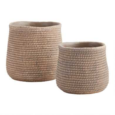 Faux Fiber Basketweave Ceramic Planter
