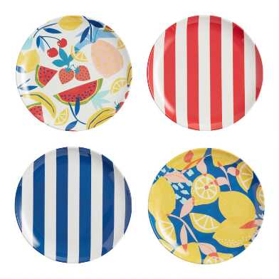 Riviera Beach Club Melamine Salad Plates Set of 4