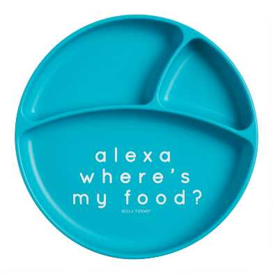 Bella Tunno Teal Blue Silicone Alexa Divided Kids Plate
