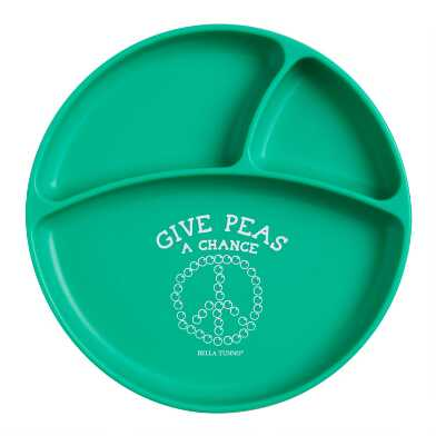 Bella Tunno Green Silicone Give Peas Divided Kids Plate