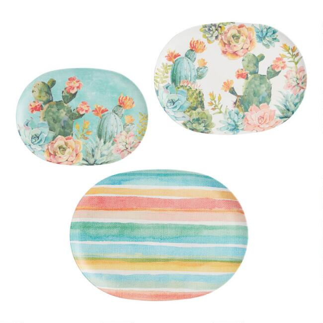Pastel Cactus Melamine Serving Trays 3 Pack