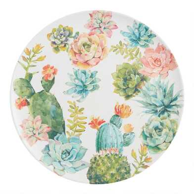 Round White and Pastel Cactus Melamine Serving Platter