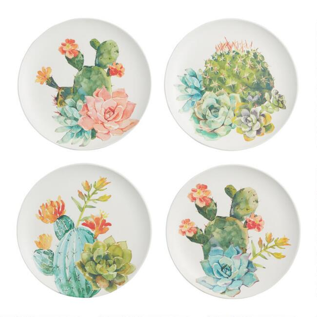 White and Pastel Cactus Melamine Dinner Plates Set of 4
