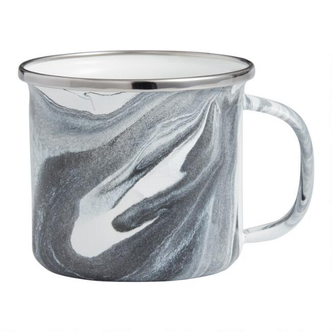 Black and White Marbled Enamel Mug