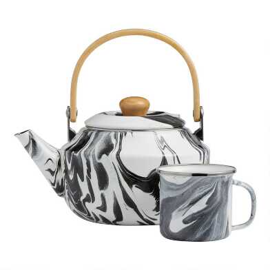 Black and White Marbled Enamel Tea Kettle and Mug Collection
