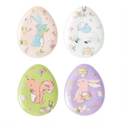 Easter Animal Egg Shaped Melamine Plates Set of 4