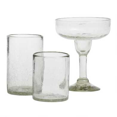 Recycled Crackled Glassware Collection