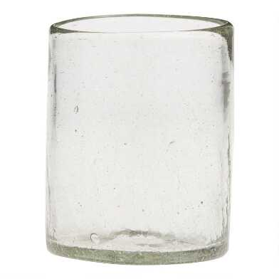 Recycled Crackled Double Old Fashioned Glasses Set of 4