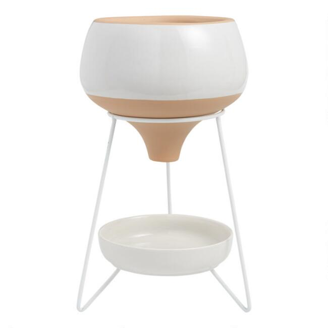 White and Natural Terracotta Bisque Funnel Planter