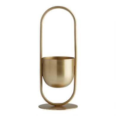 Gold Metal Standing Tabletop Planter