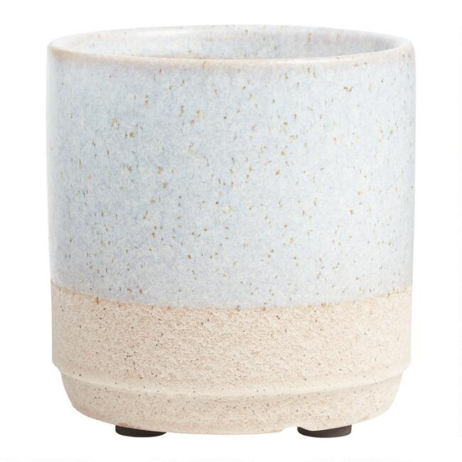 Small Light Blue and Terracotta Planter