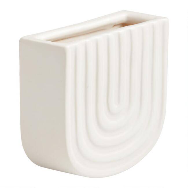 White Ceramic Rainbow Wall Mounted Planter