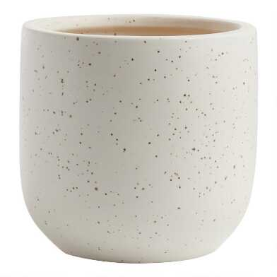 White and Black Speckled Ceramic Planter