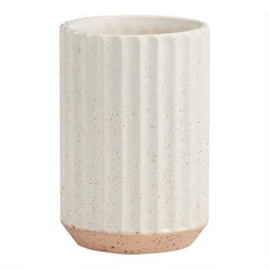 Tall White and Terracotta Speckled Ribbed Vase