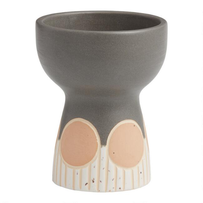 Light Gray and Natural Terracotta Geo Pedestal Vase