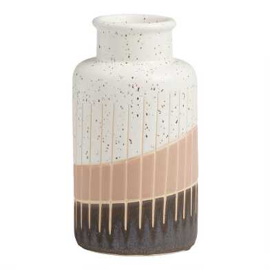 Terracotta and Light Gray Amelia Textured Vase