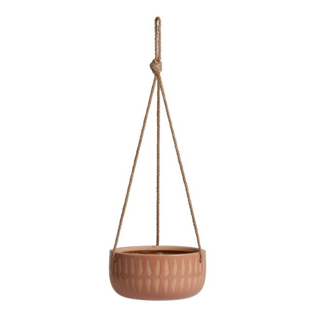 Terracotta and Light Pink Teresa Hanging Planter