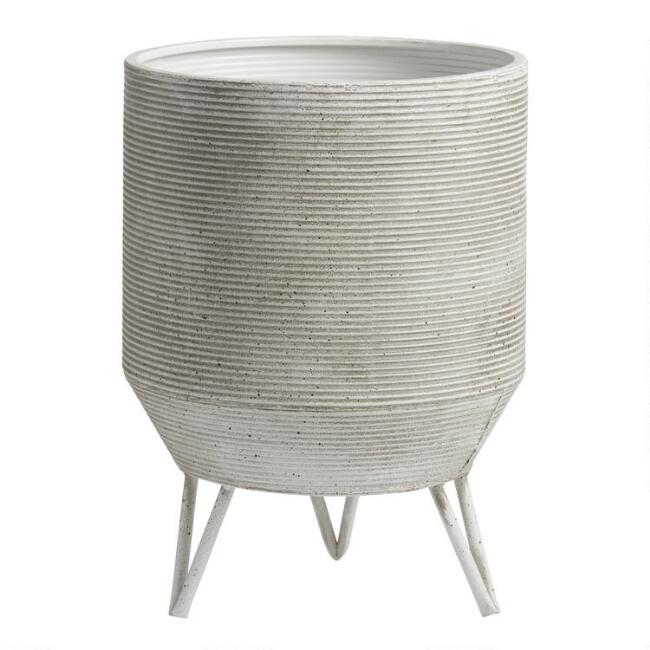 White and Black Metal Speckled Ribbed Planter