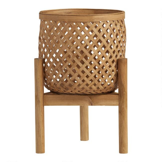 Natural Bamboo Planter with Wood Stand