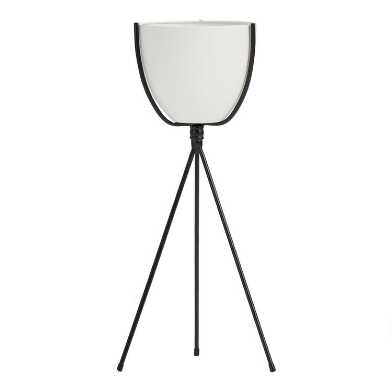 White Metal Planter with Black Tripod Stand