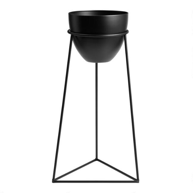 Black Metal Planter with Open Triangular Stand