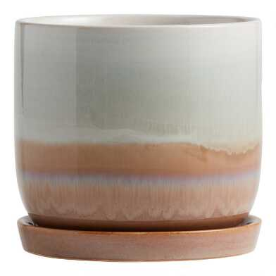 Brown and White Reactive Glaze Planter with Tray