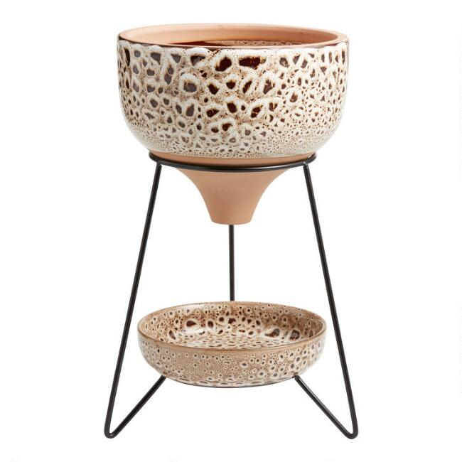 Brown and Natural Reactive Glaze Funnel Planter