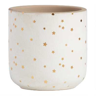 Small Ivory and Gold Star Crackled Planter