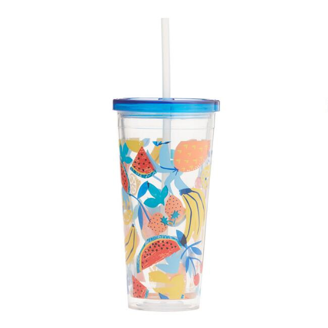 Fruit Salad Double Wall Cup with Straw