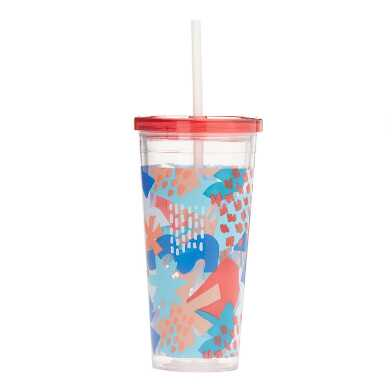 Multicolor Jolie Floral Double Wall Cup With Straw