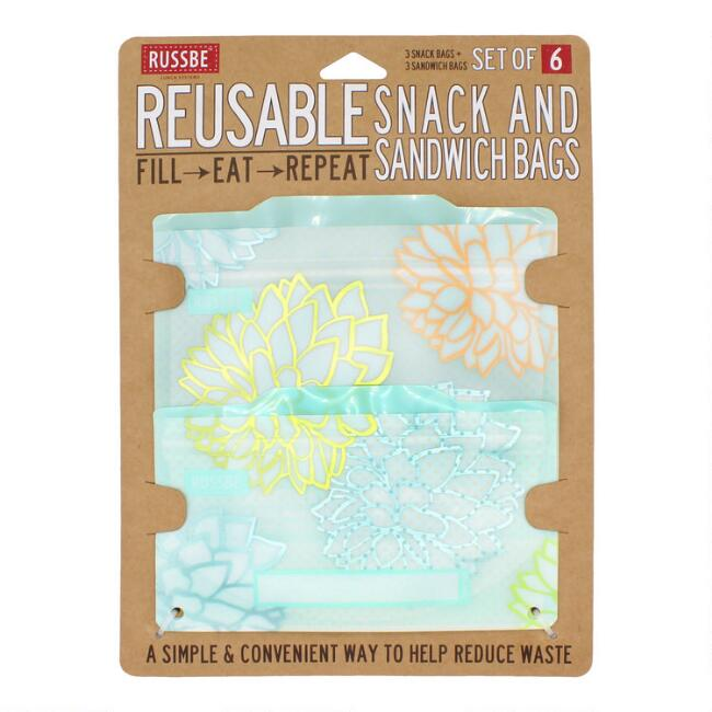 Russbe Succulent Reusable Snack and Sandwich Bags 6 Pack