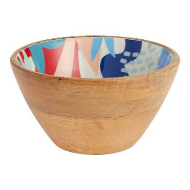 Small Multicolor Jolie Floral Enamel Wood Bowl