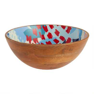 Large Multicolor Jolie Floral Enamel Wood Bowl
