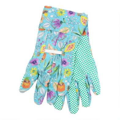 Teal Posey Fields Fabric Gardening Gloves