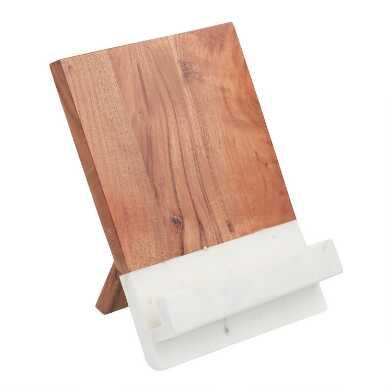 White Marble and Wood Tablet Stand
