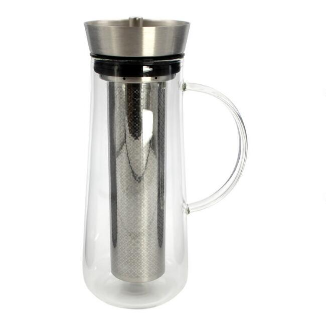 Glass and Stainless Steel Cold Brew Coffee Infuser Carafe